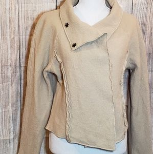 Cache tan wool jacket with raw edge details ,S-L
